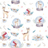 Watercolor holiday seamless pattern of a cute polar bear and deer, winter print, children's illustration, portrait of a bear, isolated new year on a white background, animal in a red scarf - 232064050