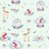 Watercolor holiday seamless pattern of a cute polar bear and deer, winter print, children's illustration, portrait of a bear, isolated new year on a white background, animal in a red scarf - 232064217
