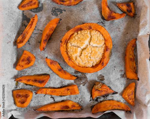 Wall mural roasted stuffed pumpkin pieces