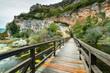 Leinwanddruck Bild - Wooden bridge in Krka National Park,Croatia