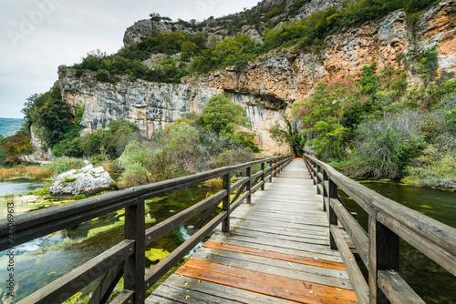 Leinwanddruck Bild Wooden bridge in Krka National Park,Croatia