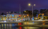Night view of Prechistenskiye Vorota square in Moscow, Russia. Architecture and landmarks of Moscow. Moscow with Christmas decoration. - 232072857