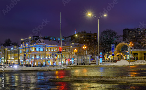 Night view of Prechistenskiye Vorota square in Moscow, Russia. Architecture and landmarks of Moscow. Moscow with Christmas decoration.
