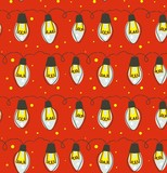 Hand drawn vector abstract fun Merry Christmas time cartoon rustic festive seamless pattern with cute illustrations of lights bulb garland isolated on red background - 232073016