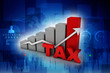 3d rendering Rising tax concept