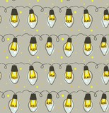 Hand drawn vector abstract fun Merry Christmas time cartoon rustic festive seamless pattern with cute illustrations of lights bulb garland isolated on grey background - 232074672