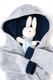 The plum bunny in baby jacket .