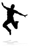A male street dance hip hop dancer in silhouette - 232075892