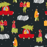 Christmas seamless pattern with walking people. Holiday winter background. Vector hand drawn illustration. - 232083454