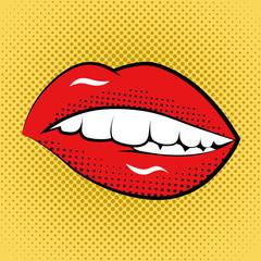 Pop Art Woman Lips Retro Style Art Print.