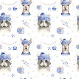 Set of Christmas Woodland Cute forest cartoon deer and cute raccoon animal character. Winter set of new year floral elements, bouquets, berries, fllowers, snow and snowflakes, lettering - 232085045