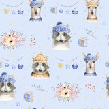 Set of Christmas Woodland Cute forest cartoon deer and cute raccoon animal character. Winter set of new year floral elements, bouquets, berries, fllowers, snow and snowflakes, lettering - 232085656