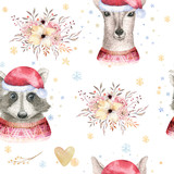 Set of Christmas Woodland Cute forest cartoon deer and cute raccoon animal character. Winter set of new year floral elements, bouquets, berries, fllowers, snow and snowflakes, lettering - 232086216