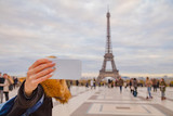 Girl using cellphone with Paris city background and Eiffel tower. © astrosystem