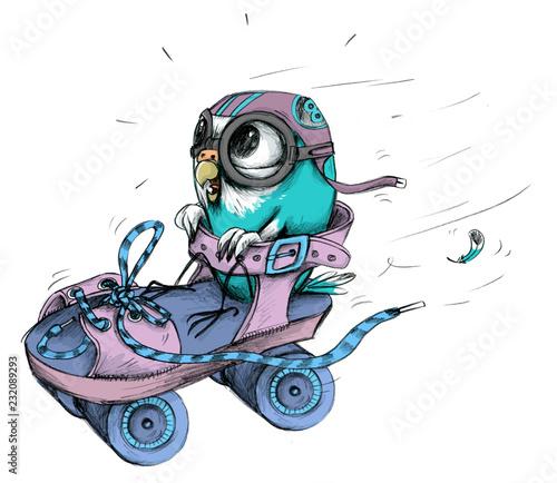 Leinwandbild Motiv Blauer Wellensittich in Rollstuhl als Rennfahrer