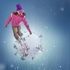 Winter Sport concept. Winter background. Young woman riding on skis on white winter planet. 3d illustration in realistic style. Winter travel.