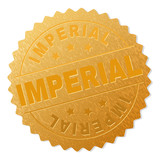 IMPERIAL gold stamp award. Vector gold award with IMPERIAL text. Text labels are placed between parallel lines and on circle. Golden surface has metallic texture. - 232090638