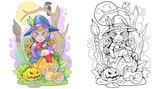 Cartoon cute witch sitting on a pumpkin, funny illustration