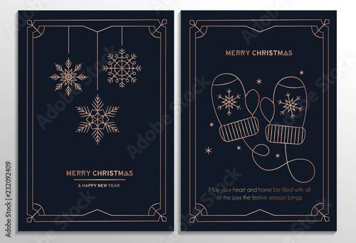 Nowy rok party zaproszenie karty z różowego złota geometryczny wzór i granatowe tło. Ilustracji wektorowych