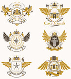 Vector classy heraldic Coat of Arms. Collection of blazons stylized in vintage design and created with graphic elements, royal crowns and flags, stars, towers, armory, religious crosses. - 232098611
