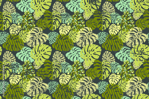 vector pattern with plant leaves. - 232099664