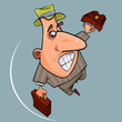 cartoon funny emotional man in hat jumps with two briefcases - 232100451