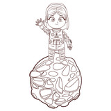 Astroanut girl cartoon in black and white - 232105232