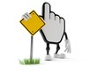Cursor character with blank road sign