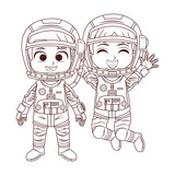 Happy astronaut kids in black and white - 232107464