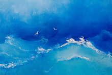 """Постер, картина, фотообои """"Sea painting. Waves and seagulls on canvas oil painting for the background of a major stroke."""""""