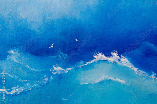 Sea painting. Waves and seagulls on canvas oil painting for the background of a major stroke. © VIKTOR