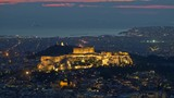 Parthenon of Athens at dusk time, Greece. Zoom out shot - 232112070