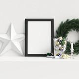 Mock Up Poster Frame Interior Scandinavian Christmas Winter Decoration, 3D Rendering, 3D Illustration - 232112251