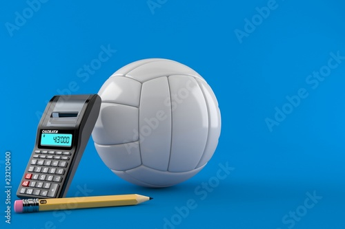 Volleyball with calculator and pencil