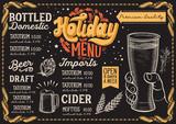 Christmas menu template for beer restaurant on a blackboard. - 232120855