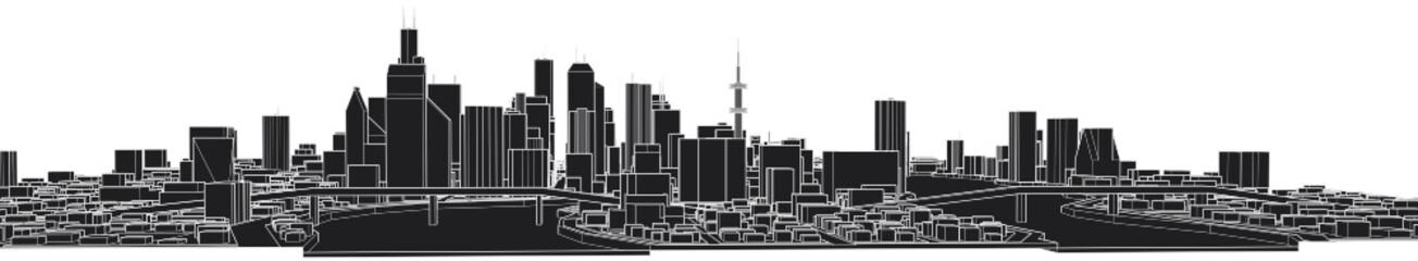 city buildings vector illustration © rikirennes