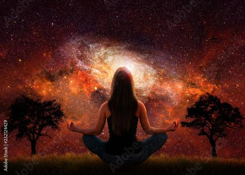 Poster Woman yoga universe