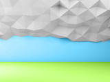 Abstract low poly landscape background, 3d - 232126201