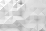 Abstract low polygonal pattern, white mosaic - 232126202