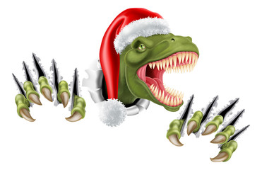 A T Rex dinosaur wearing a Santa Christmas hat and tearing through the background © Christos Georghiou