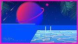 Space tropical pool. futuristic vaporwave minimal illustration background - 232128662