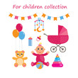Baby elements set. bear, toys, bottle, stroller, child. Vector illustration