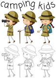 Doodle camping kids character - 232142072