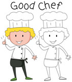 Doodle chef character set - 232142095