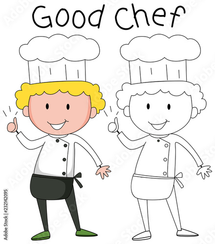 Wall mural Doodle chef character set