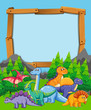 Many dinosaur on nature wooden frame - 232142415