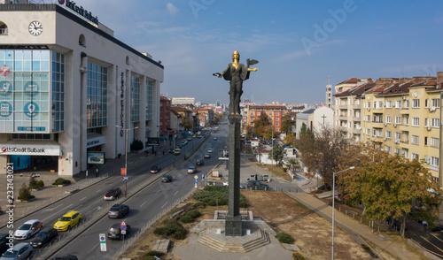 Poster Aerial view of St Sophia statue, downtown Sofia, Bulgaria