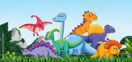 Many dinosaur  in nature - 232143027