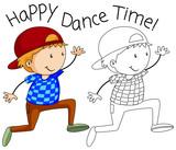 Doodle happy dancer character - 232143866
