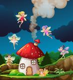 Fairy at mushroon house - 232144051
